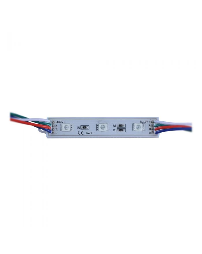 DC12V SMD 5050 Waterproof LED Module (3 LEDs, RGB Light, 0.72 W, L74 x W12mm) 100PCS