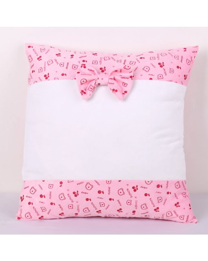 Sublimation Blanks Pillow Case with Two Sides Bear Pattern and Bowknot Cartoon Fashion Cushion Cover, 20pcs/pack