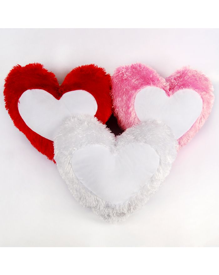 Sublimation Pillow Case Blanks Fashion Cushion Cover Long Plush Heart Shape Blanks 50pcs/pack