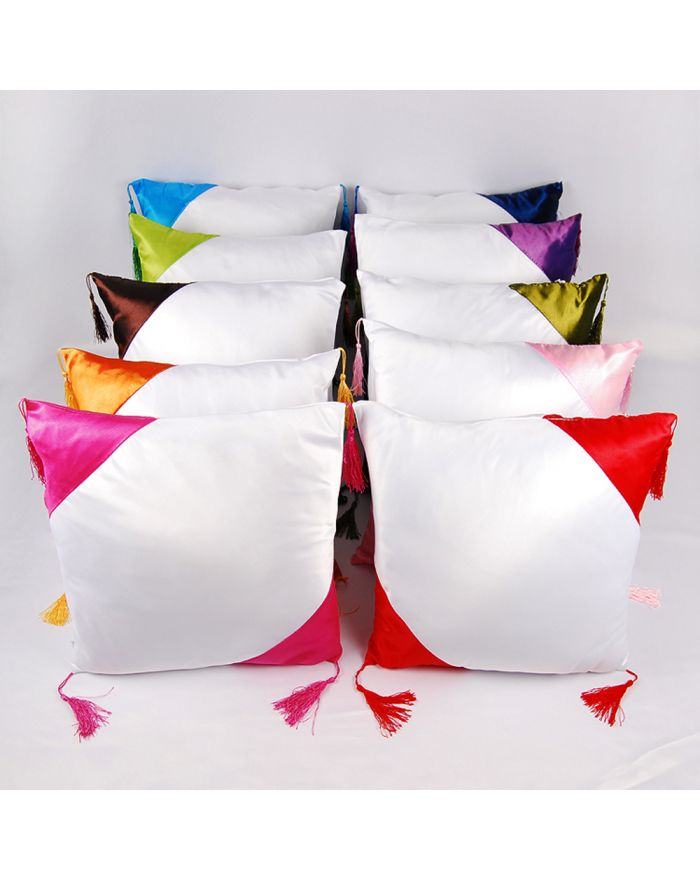 3D Sublimation Blanks Pillow Case Cushion Cover with Diagonal Triangle Pattern for Heat Press Printing 16''x16''