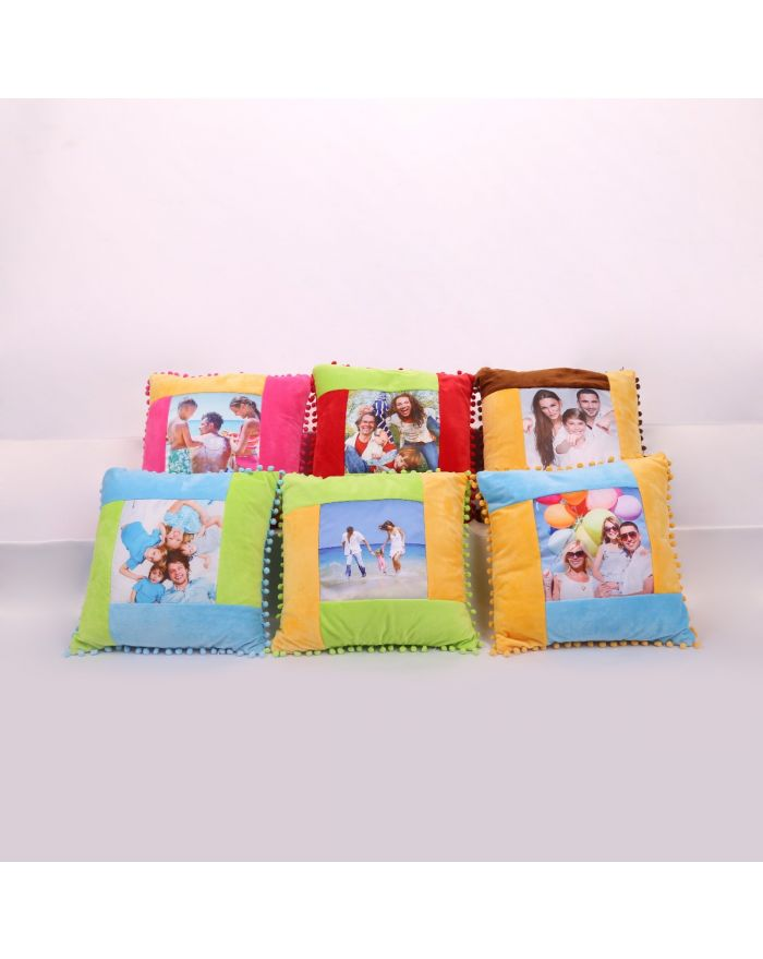3D Sublimation Pillow Blanks Cushion Cover with Dot Edge Pattern for DIY Sublimation Printing 10pcs